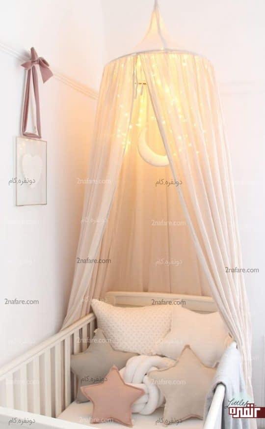 تخت نوزاد با سایه بان حریر و تزیینات زیبا