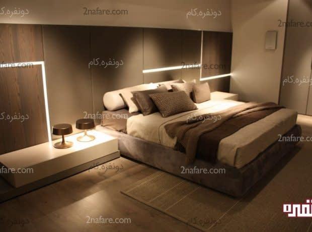 تخت و پاتختی بسیار زیبا برای اتاق خوابی مدرن و شیک