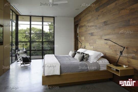 تخت چوبی و تزیین دیوار پشت تخت خواب با چوب