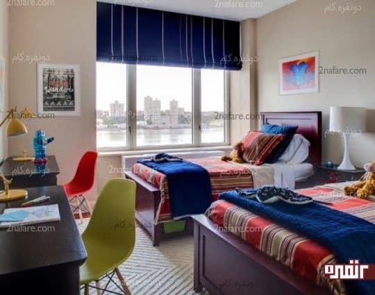 ترکیب رنگ های آبی و نارنجی در اتاق خواب پسرانه