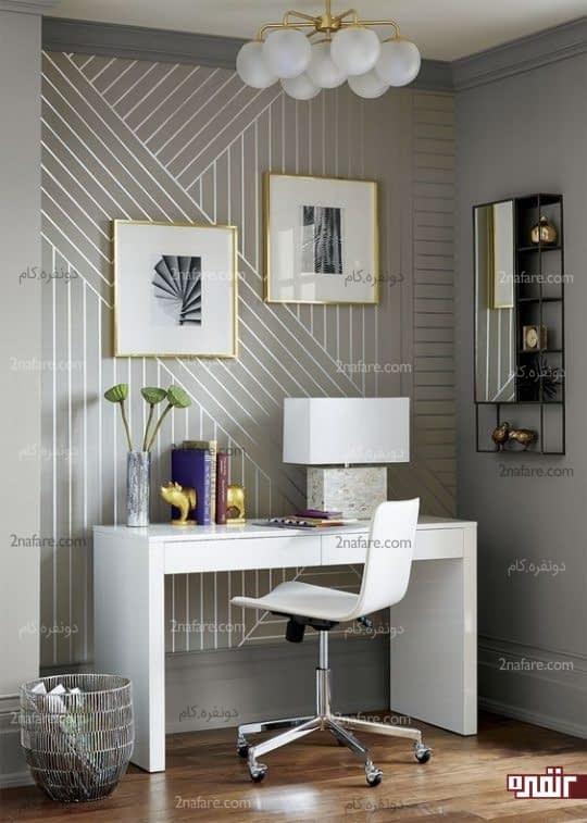 تزئین بسیار زیبای دیوار برای مشخص کردن محل قرارگیری میزکار در منزل