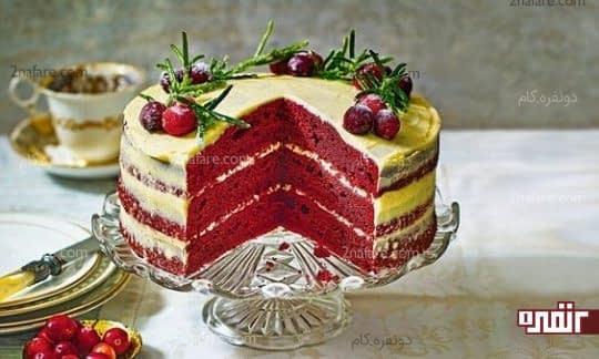 تزیین زیبا و ساده کیک رد ولوت