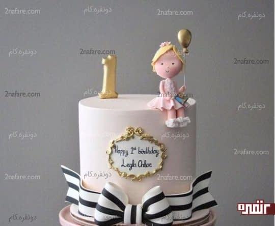 تزیین کیک تولد دخترونه با فوندانت