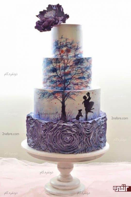 تزیین کیک عروسی با نقاشی روی فوندانت با سایه های بنفش