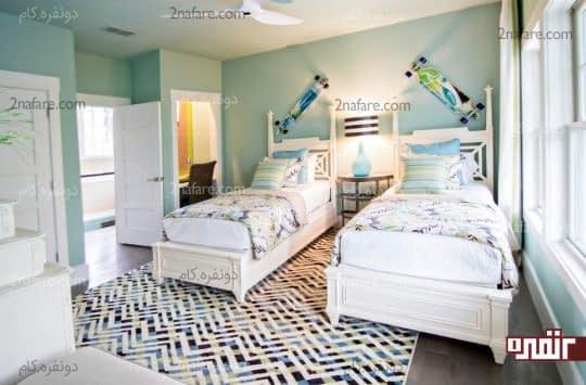 تناژهای مختلف آبی در اتاق خواب
