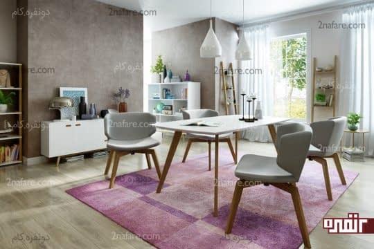 جداسازی فضای غذاخوری با فرش رنگی
