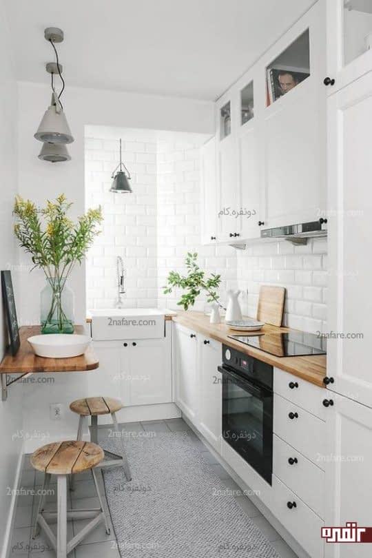 جذابیت فضای آشپزخانه با افزودن چوب به سطوح