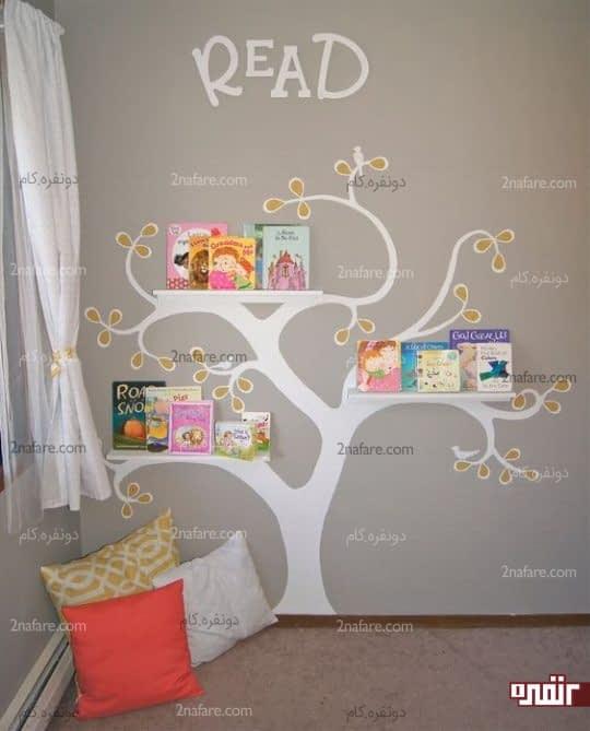 کنج جذاب اتاق خواب بعنوان فضای مطالعه برای بچه ها