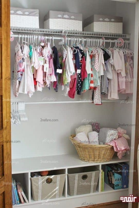 جعبه های زیبا و آویز لباس برای مرتب کردن وسایل نوزاد