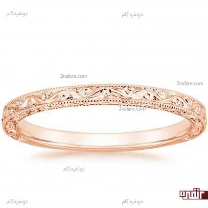 حلقه رزگلد حکاکی شده و زیبا