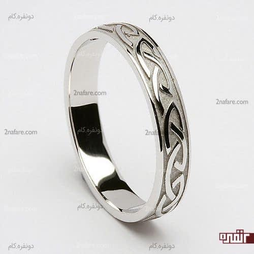 حلقه نامزدی با طلا سفید خاص و ظریف