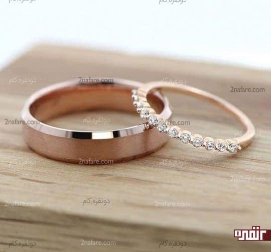 حلقه نامزدی رز گلد برای عروس و داماد