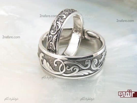 حلقه نامزدی پلاتینیوم حکاکی شده و زیبا