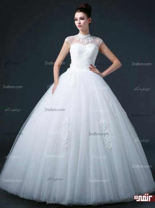 دامن پفی توری لباس عروس