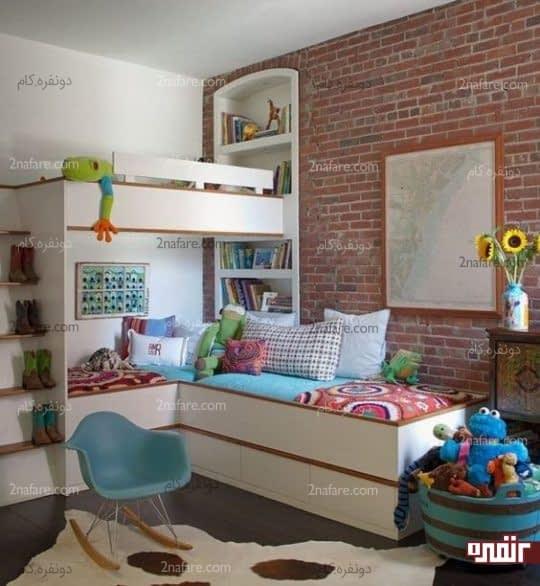 دکوراسیونی فوق العاده زیبا با انتخاب دیوار آجری برای اتاق کودک