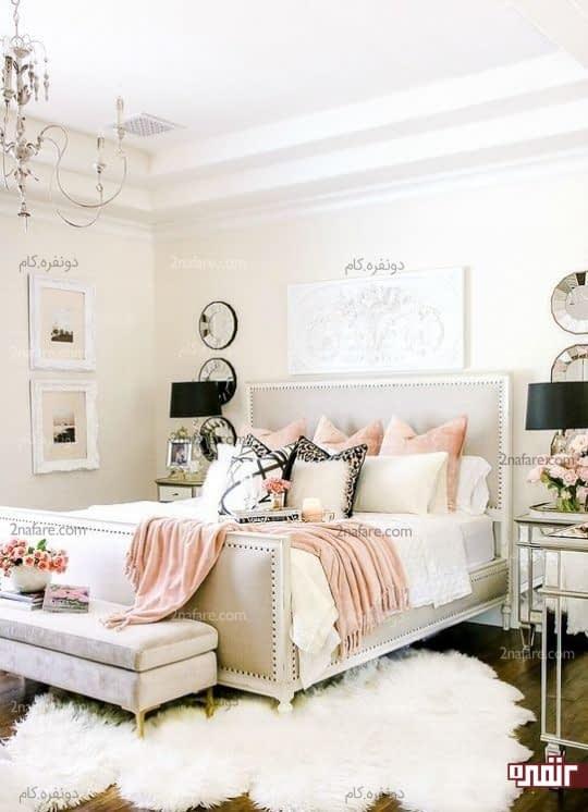 دکوراسیون اتاق خواب لوکس و بسیار شیک با رنگ های روشن