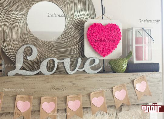 دکوراسیون جذاب با تابلوی زیبای گل کاغذی با طرح قلب