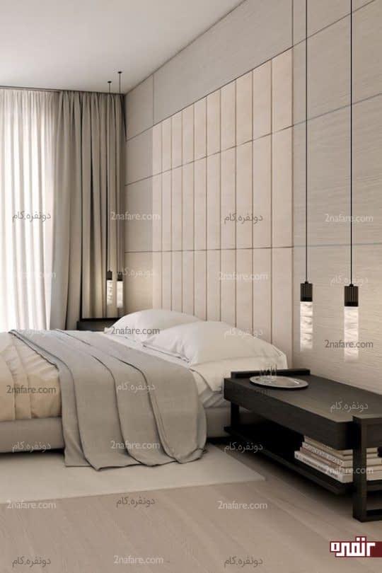 دکور زیبای اتاق خواب مدرن با پوشش پارچه برای دیوار پشت تخت خواب