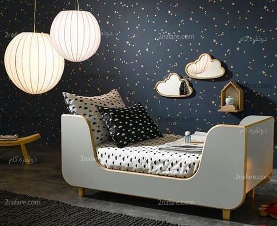 دیوار اتاق کودک به شکل آسمانی پر از ستاره