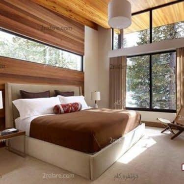 دیوار پشت تخت خواب با طراحی چوب به رنگ طبیعی