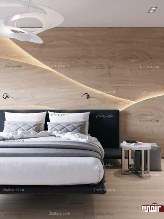 دیوار چوبی سه بعدی برای پشت تخت خواب