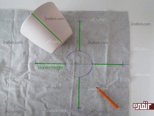 رسم دایره ی گلدان روی چرم و رسم خطوط به اندازه ی ارتفاع گلدان