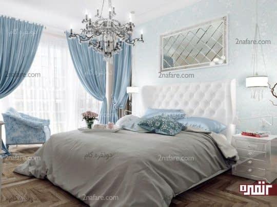 رنگ آبی برای دکوراسیون اتاق خواب