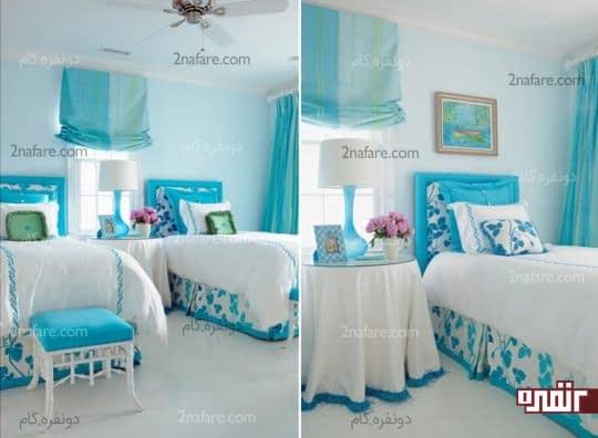 رنگ آبی و سفید در اتاق دوتخته دخترانه