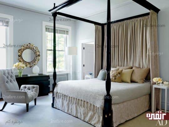 رنگ خاکستری برای دیوار و صندلی اتاق خواب دنج