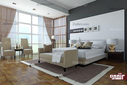 رنگ خاکستری دیوارها برای داشتن اتاق خوابی مدرن و زیبا