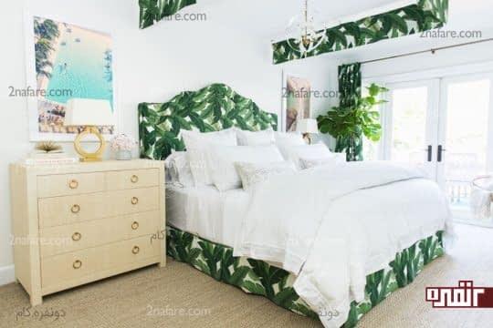 رنگ سفید بعنوان رنگ اصلی اتاق با طرح برگهای سبز