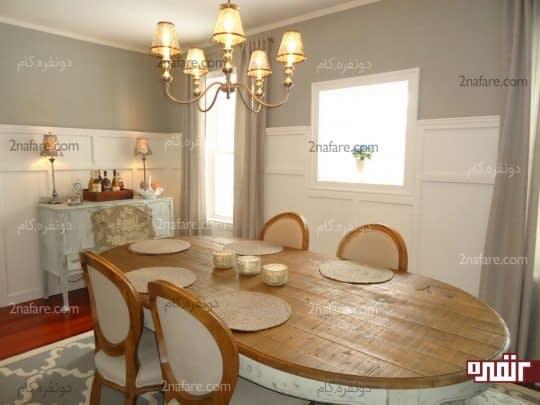 رنگ های خنثی و رنگ چوب در اتاق غذاخوری
