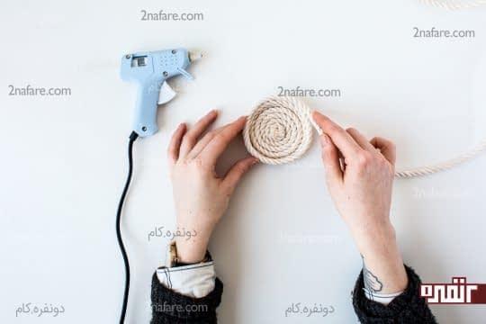 روی هم قرار دادن طناب به صورت دایره ای برای ساخت سبد
