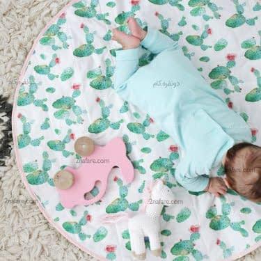 زیرانداز نوزادی با طرح کاکتوس
