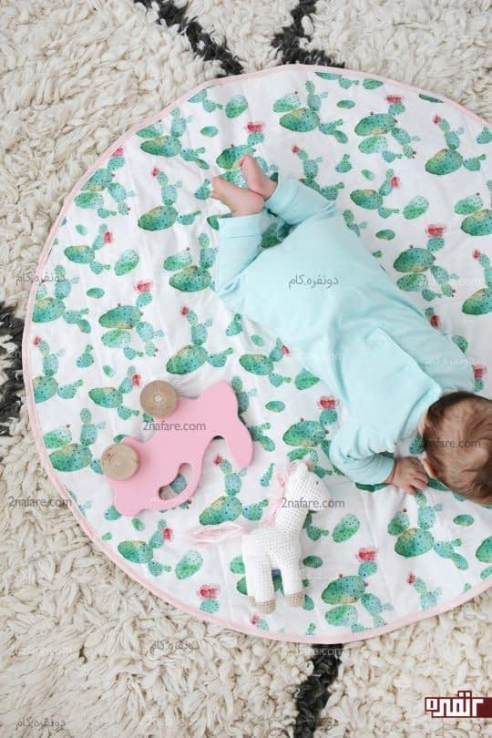 رومیزی گرد پارچه ای آموزش دوخت زیرانداز نوزادی گرد مرحله به مرحله • دونفره