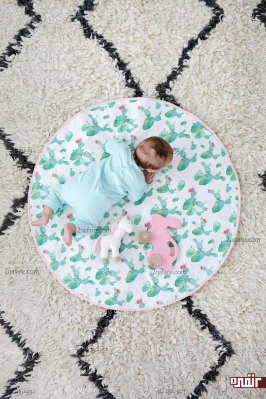 زیرانداز نوزادی گرد یا تشک بازی کودک