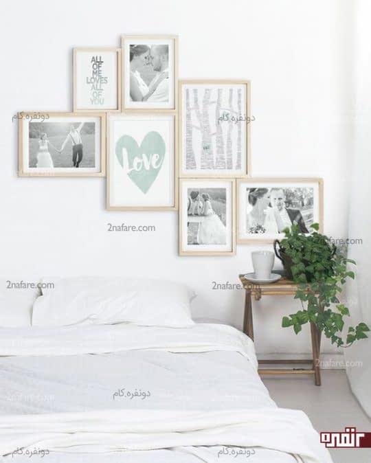 ساخت آلبوم دیواری از عکسهای مورد علاقه برای داشتن اتاق خواب جذاب