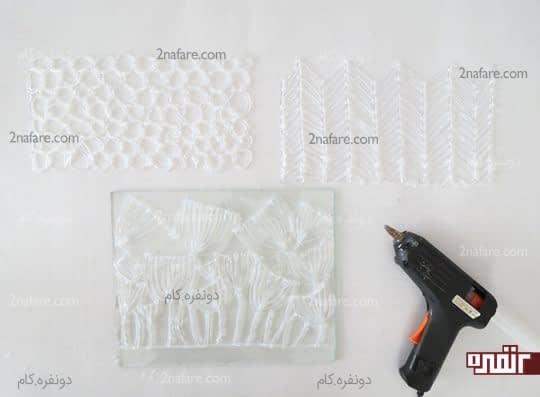 ساخت الگوهای مختلف برای روکش گلدان شیشه ای با چسب حرارتی