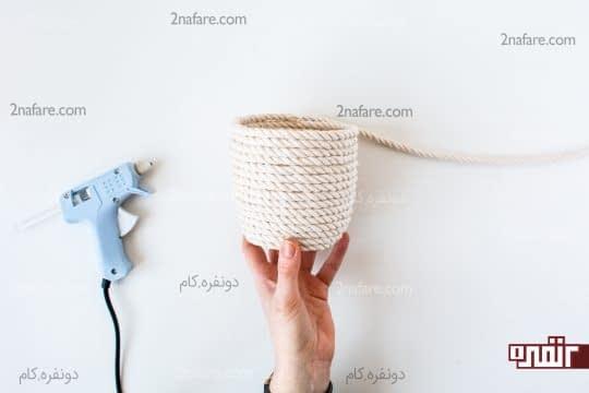 سبد تزیینی زیبا با طناب