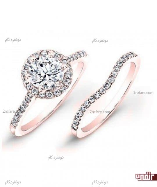 ست حلقه و انگشتر زیبای نامزدی رزگلد