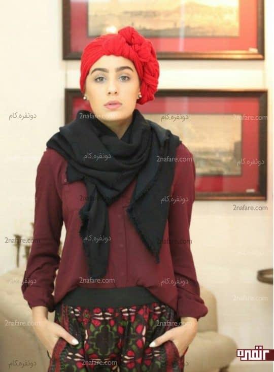 سربند طرح دار و پوشش گردن با روسری