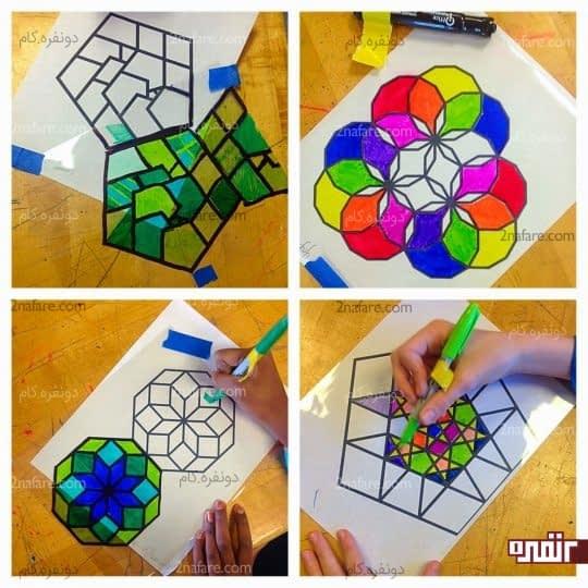 شناخت اشکال هندسی و رنگ آمیزی آنها