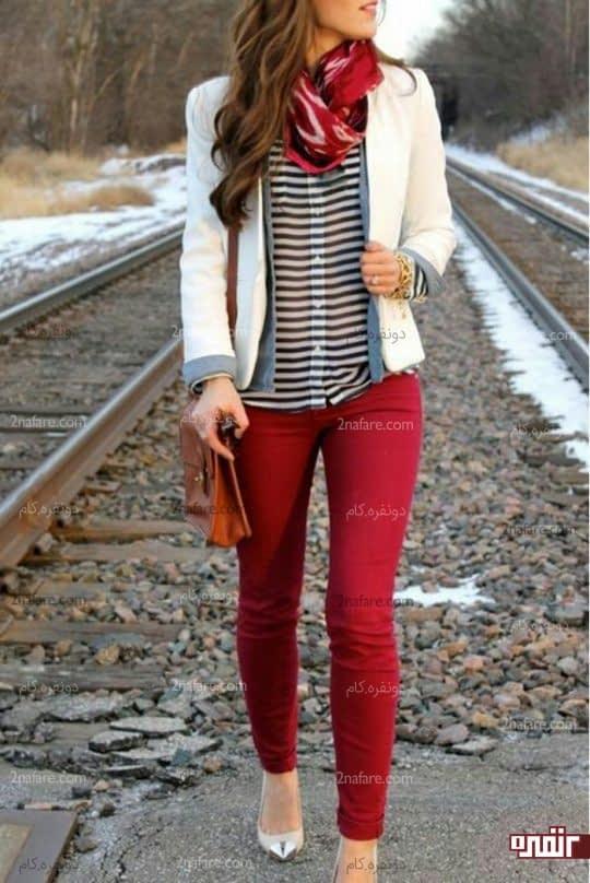 شلوار قرمز و کت سفید