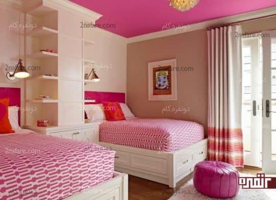 صورتی در تناژهای مختلف به عنوان رنگ اصلی در اتاق