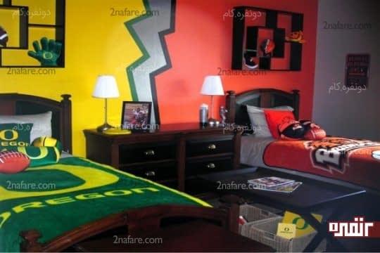 طراحی اتاق دو تخته ی پسرانه با دو تم متفاوت
