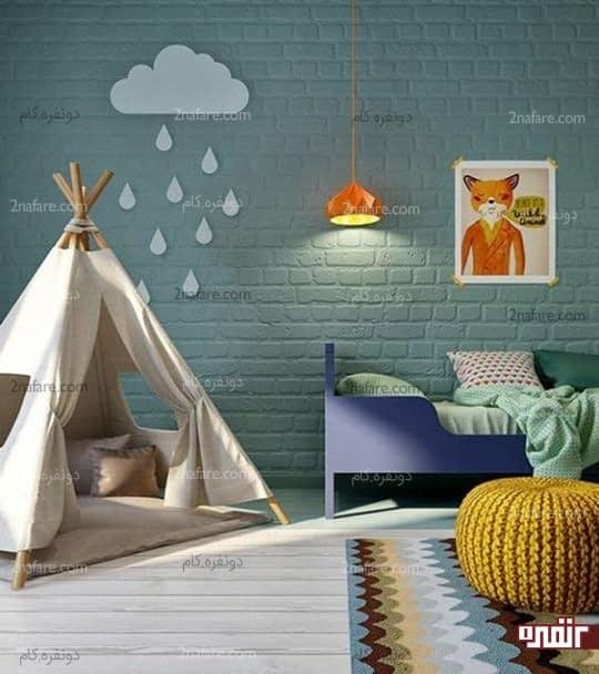 طراحی اتاق کودک با دیوار آجری رنگ شده