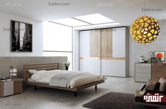 طراحی خاص تخت و لوستر در اتاق خواب مدرن