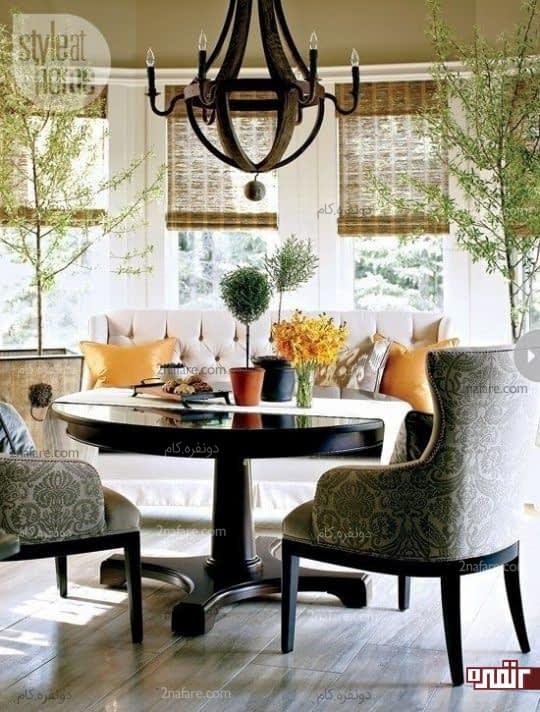 طراحی دکوراسیون زیبای فضای غذاخوری با میز گرد