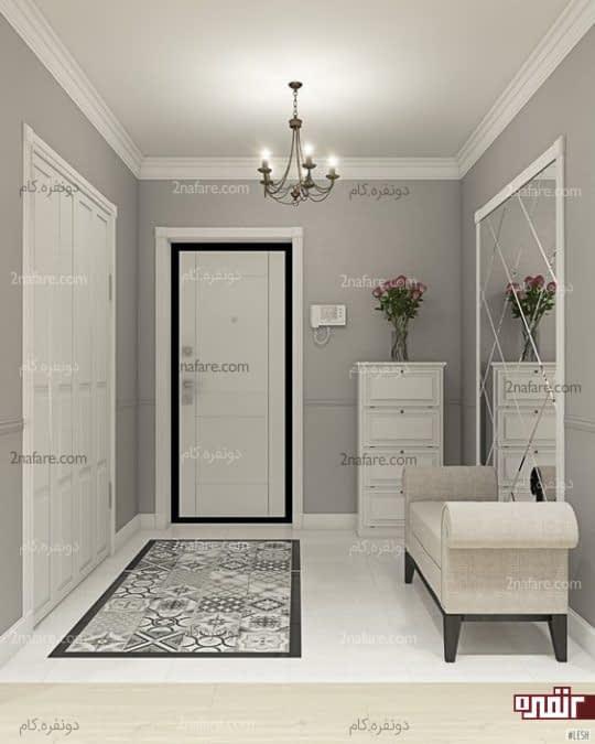 طراحی دکور راهروی ورودی با آینه و جذابیت رنگ سفید