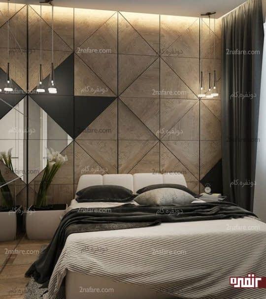 طراحی دیوار پشت تخت خواب با اشکال هندسی چوبی در اتاق خواب مدرن